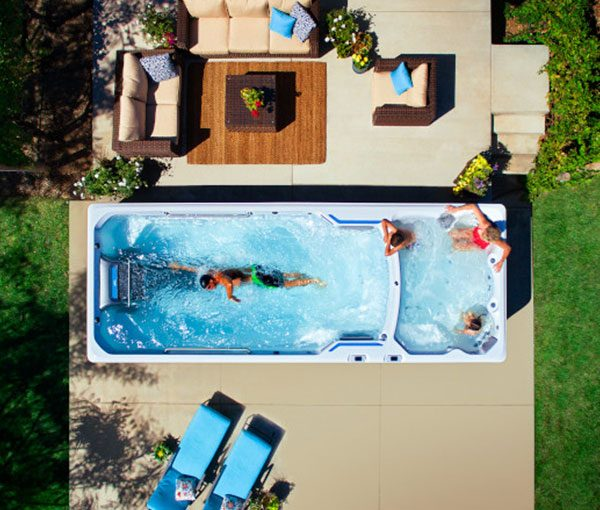 E200 Endless Pool Aerial View | Endless Pools Fitness Systems available at the Recreational Warehouse Southwest Florida (Naples, Fort Myers and Port Charlotte Locations) Pool Warehouse