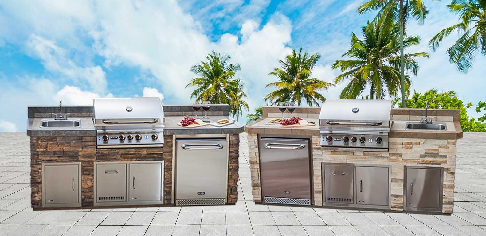 "Boca Grande Designer Outdoor Kitchen Model ""The Resort Collection"" Layout and Color Options from The Recreational Warehouse Southwest Florida's Leading Warehouse for Spas, Hot Tubs, Pool Heaters, Pool Supplies, Outdoor Kitchens and more!"
