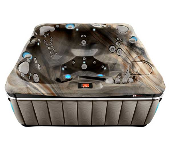 Tahitian Hot Tub in Brownstone and Tuscan Sun | Caldera Spas available at the Recreational Warehouse Southwest Florida (Naples, Fort Myers and Port Charlotte Locations) Pool Warehouse
