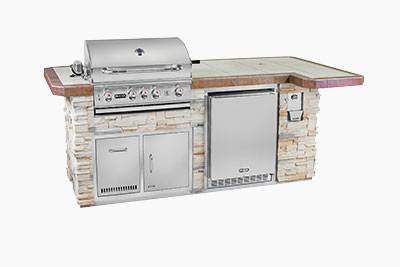 Captiva Luxury Florida Style Outdoor Kitchen: Tan Stone and Outdoor Grill, Fridge | The Recreational Warehouse Resort Collection