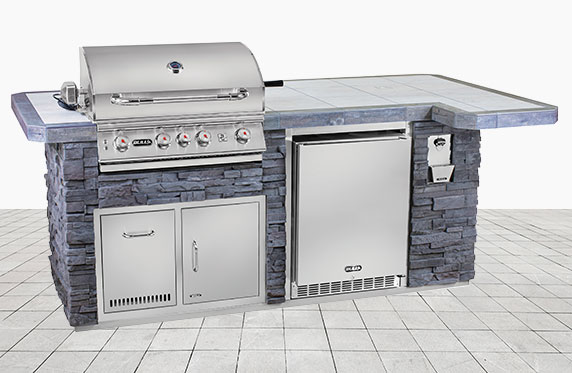 Captiva Luxury Florida Style Outdoor Kitchen: Grey Stone and Outdoor Grill, Fridge | The Recreational Warehouse Resort Collection