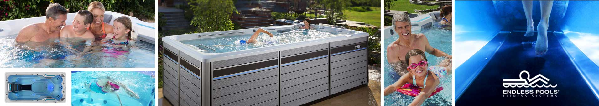Collage of photos showcasing Endless Pools Fitness Systems available at The Recreational Warehouse Southwest Florida's Leading Warehouse for Spas, Hot Tubs, Pool Heaters, Pool Supplies, Outdoor Kitchens and more!