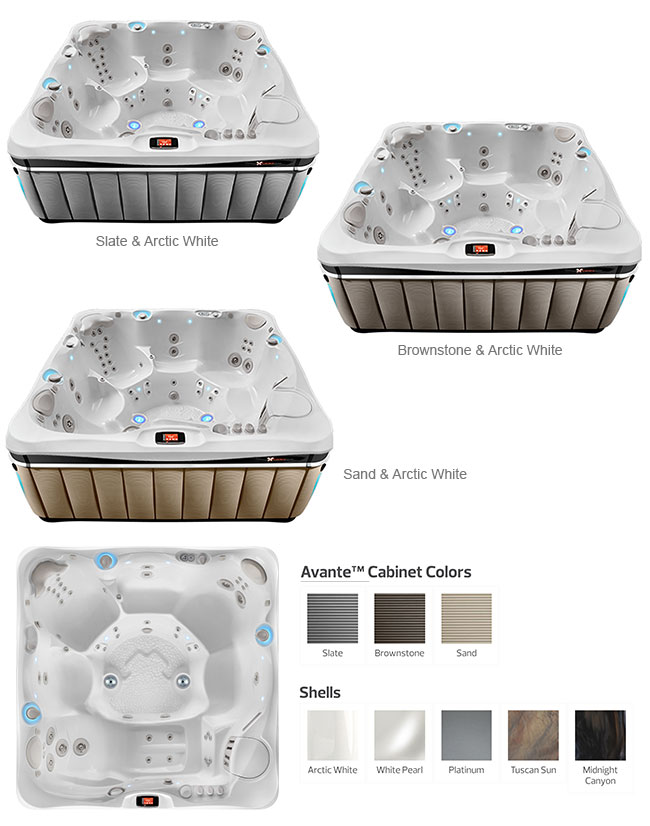 Geneva Color Options | Caldera Spas available at the Recreational Warehouse Southwest Florida (Naples, Fort Myers and Port Charlotte Locations) Pool Warehouse
