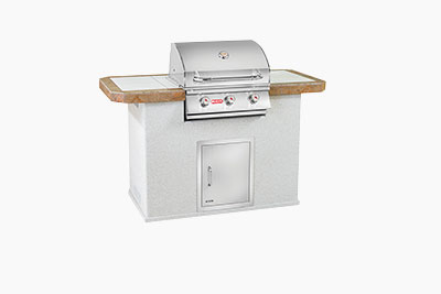 Key West Florida Style Outdoor Kitchen: Grey Stucco and Outdoor Grill | The Recreational Warehouse Resort Collection