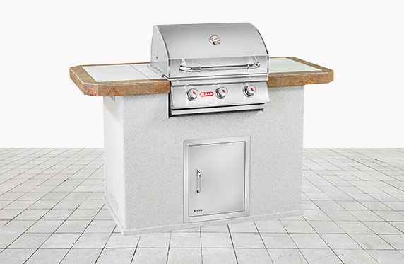 Key West Florida Style Outdoor Kitchen Grey Stucco and Outdoor Grill | The Recreational Warehouse Resort Collection