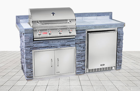 Marco Island Florida Style Outdoor Kitchen: Grey Stone and Outdoor Grill, Fridge | The Recreational Warehouse Resort Collection