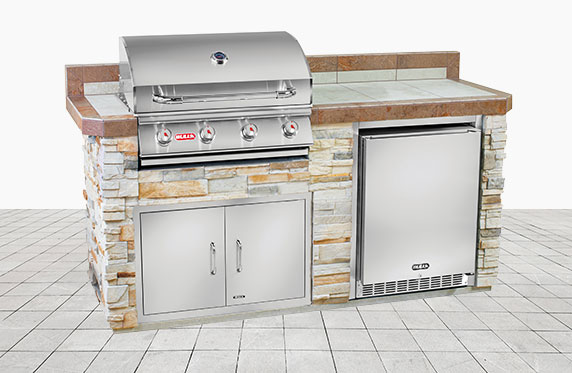 Marco Island Florida Style Outdoor Kitchen: Tan Stone and Outdoor Grill, Fridge | The Recreational Warehouse Resort Collection