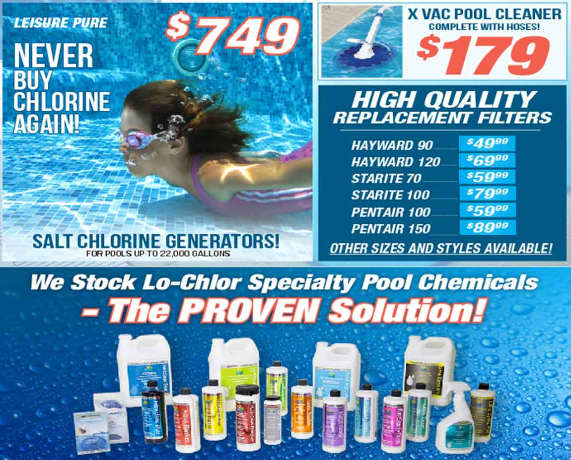 The Recreational Warehouse's Pool Supplies Promotion | Southwest Florida's Leading Warehouse for Spas, Hot Tubs, Pool Heaters, Pool Supplies, Outdoor Kitchens and more!