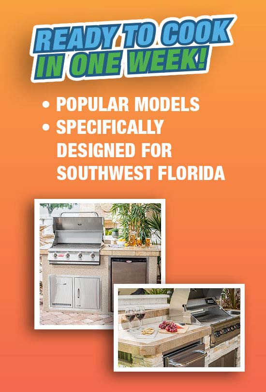 "Popular Outdoor Kitchen Models ""The Resort Collection"" Ready to cook in one week from The Recreational Warehouse Southwest Florida's Leading Warehouse for Spas, Hot Tubs, Pool Heaters, Pool Supplies, Outdoor Kitchens and more!"