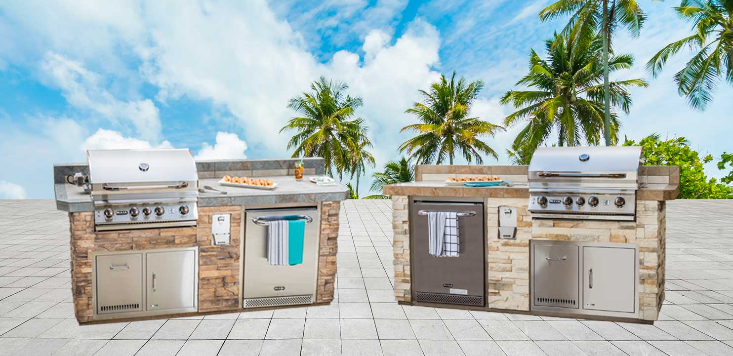 "Sanibel Designer Outdoor Kitchen Model ""The Resort Collection"" Layout and Color Options from The Recreational Warehouse Southwest Florida's Leading Warehouse for Spas, Hot Tubs, Pool Heaters, Pool Supplies, Outdoor Kitchens and more!"