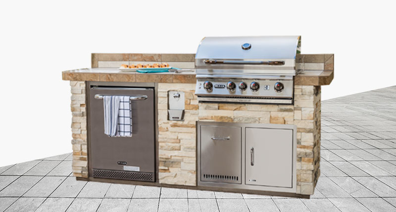 "Sanibel Designer Outdoor Kitchen Model ""The Resort Collection"" from The Recreational Warehouse Southwest Florida's Leading Warehouse for Spas, Hot Tubs, Pool Heaters, Pool Supplies, Outdoor Kitchens and more!"