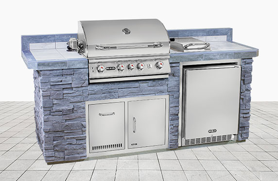 Sanibel Luxury Florida Style Outdoor Kitchen: Grey Stone and Outdoor Grill, Fridge | The Recreational Warehouse Resort Collection