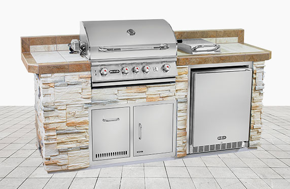 Sanibel Luxury Florida Style Outdoor Kitchen: Tan Stone and Outdoor Grill, Fridge | The Recreational Warehouse Resort Collection