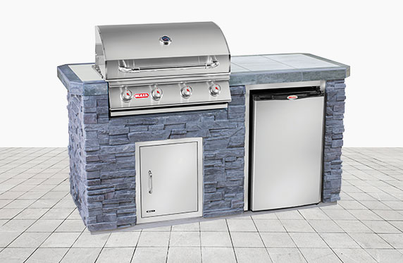 Siesta Key Florida Style Outdoor Kitchen: Grey Stone and Outdoor Grill, Fridge | The Recreational Warehouse Resort Collection