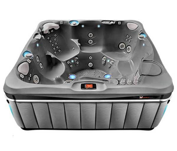 Geneva Hot Tub in Slate and Platinum | Caldera Spas available at the Recreational Warehouse Southwest Florida (Naples, Fort Myers and Port Charlotte Locations) Pool Warehouse