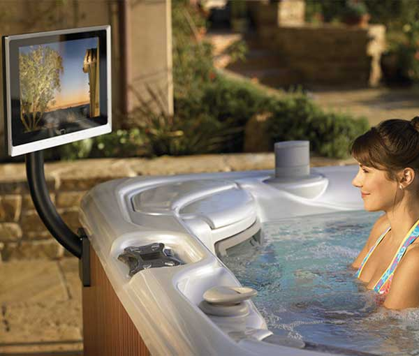Vanguard Hot Tub Spa with TV attachment accessory | Hot Springs Spas available at the Recreational Warehouse Southwest Florida (Naples, Fort Myers and Port Charlotte Locations) Pool Warehouse